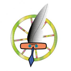 Logo Schreibfeder, Pedal mitAugen, Rad, weißer Hintergrund