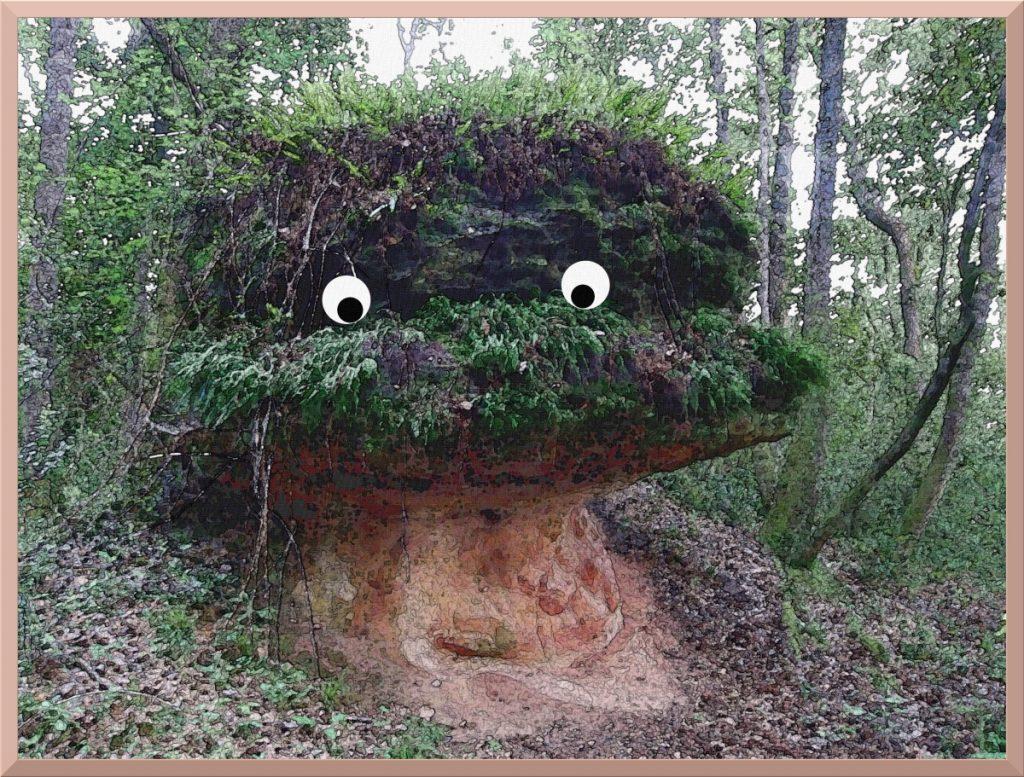 Überwucherten Pilzstein in Collsacabra/Vall de Sau, leicht posterisiert und mit lustigen Augen versehen
