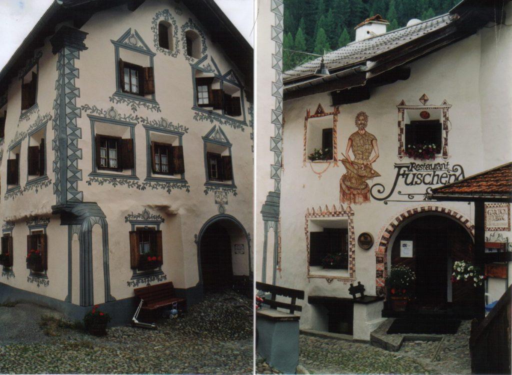 Rumantsche Häuser in Bergün