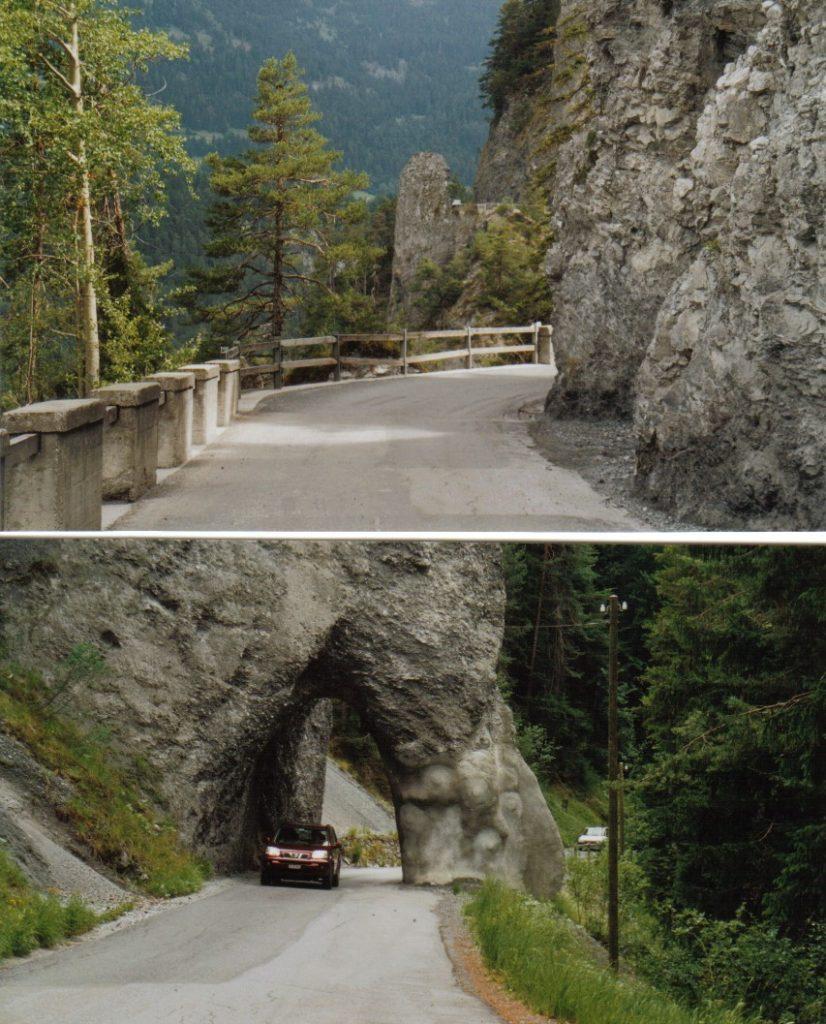 Vorderrhein mit Steintunnel und Schlucht