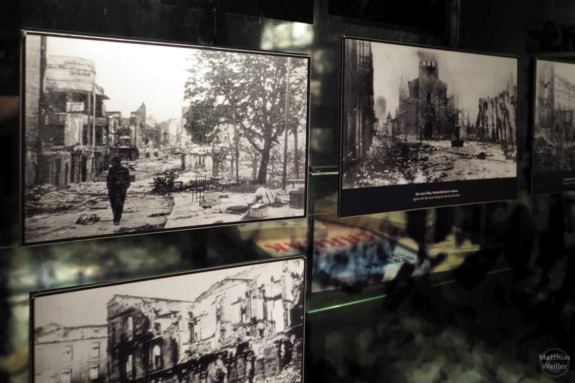 Düstere Zerstörungsbilder vom Bombardement der deutschen Wehrmacht nach Angriff auf Gernika, Baskenland, Museo de la Paz