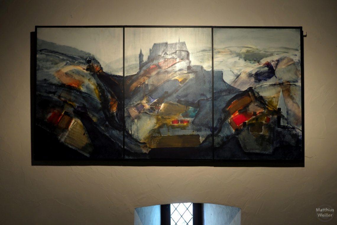 Düsteres Bild von der Burg Vianden, abstrakt gemalt