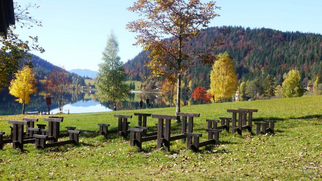 Hintersteiner See Panoramablick mit Herbststimmung