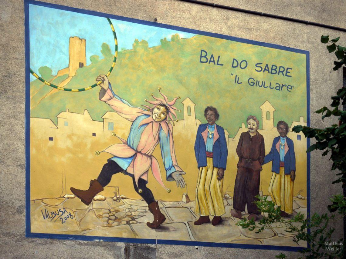 Murales mit Burg, Bagnasco und tanzendem Clown und 3 weiteren Tänzern