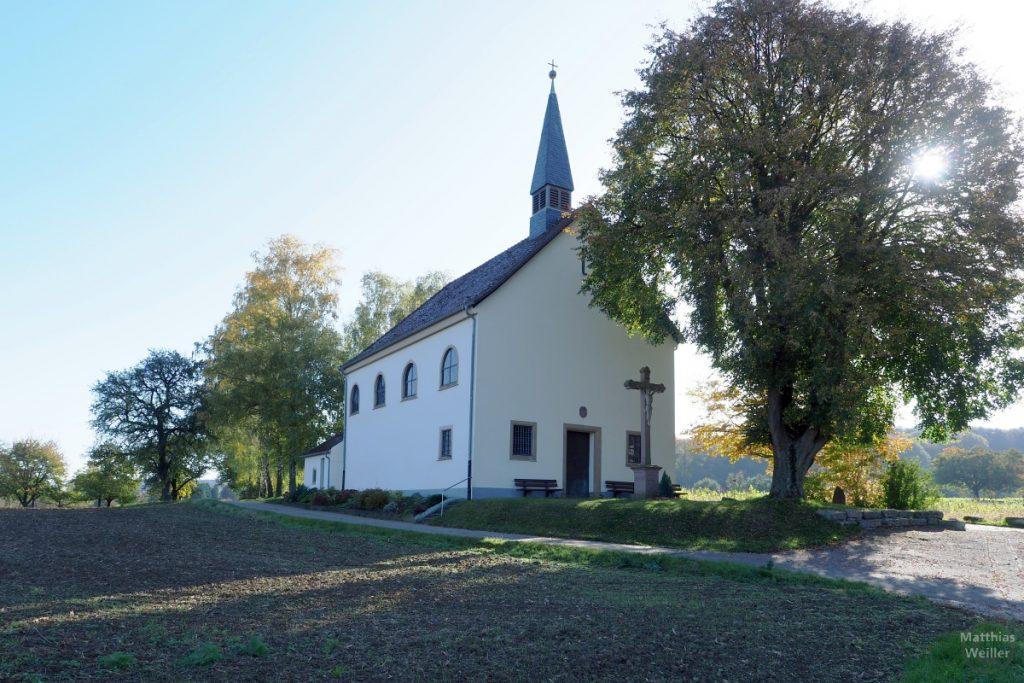 Adlersbergkapelle bei Neibsheim mit Baum im Gegenlicht