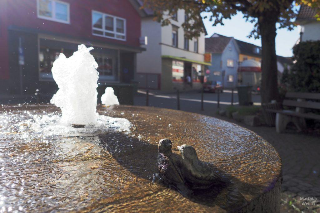 Brunnendetail mit Vogelpärchenskulptur in Gondelsheim