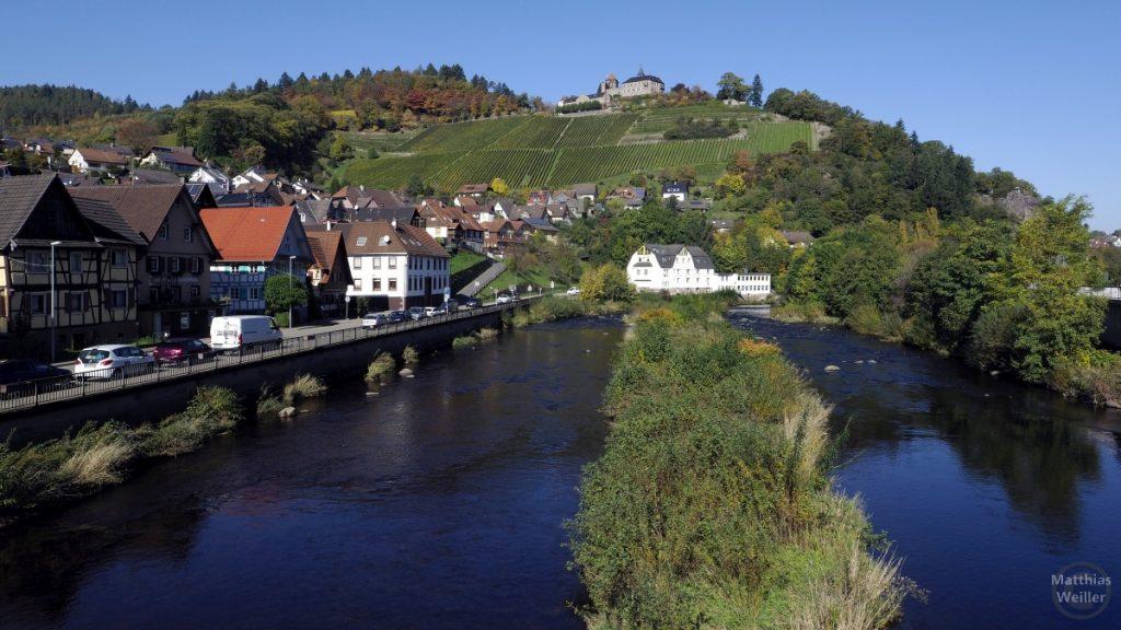 Murgtal mit Obertsrot, Weinberg mit Schloss Eberstein