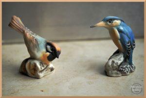 Souvenir Keramikvögel Sperling/Eisvogel, Capodimonte