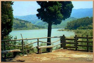 smaradfarbener Lago dell'Angitola mit grüner Hügelumgebung