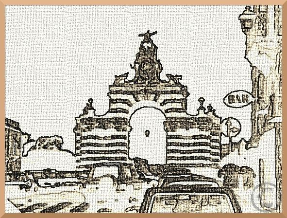 stilisiertes Stadttor Catania, sepiafarben mit Reliefmuster
