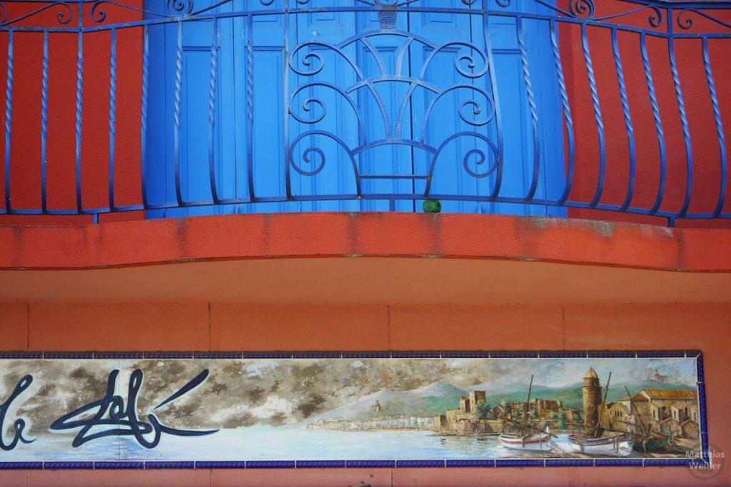Balkon mit Malerei von Collioure-Ansicht
