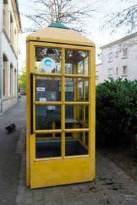 Gelbe Telefonzelle mit Pyramidendach, Wasserbillig