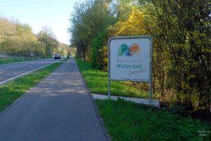 Straßenflucht mit gelb-grünen Bäumen, Einfahrt Schild Naturpark Mellerdall Geopark