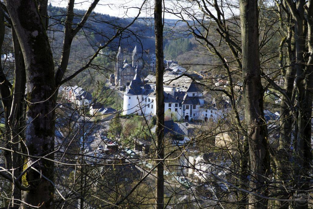 Blick auf Clervaux durch Bäume