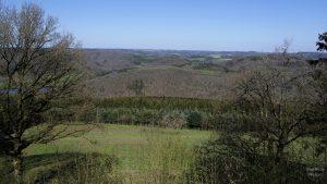 Panorama Ardennenhügel mit oberer Sauer im noch nicht belaubten Frühjahr