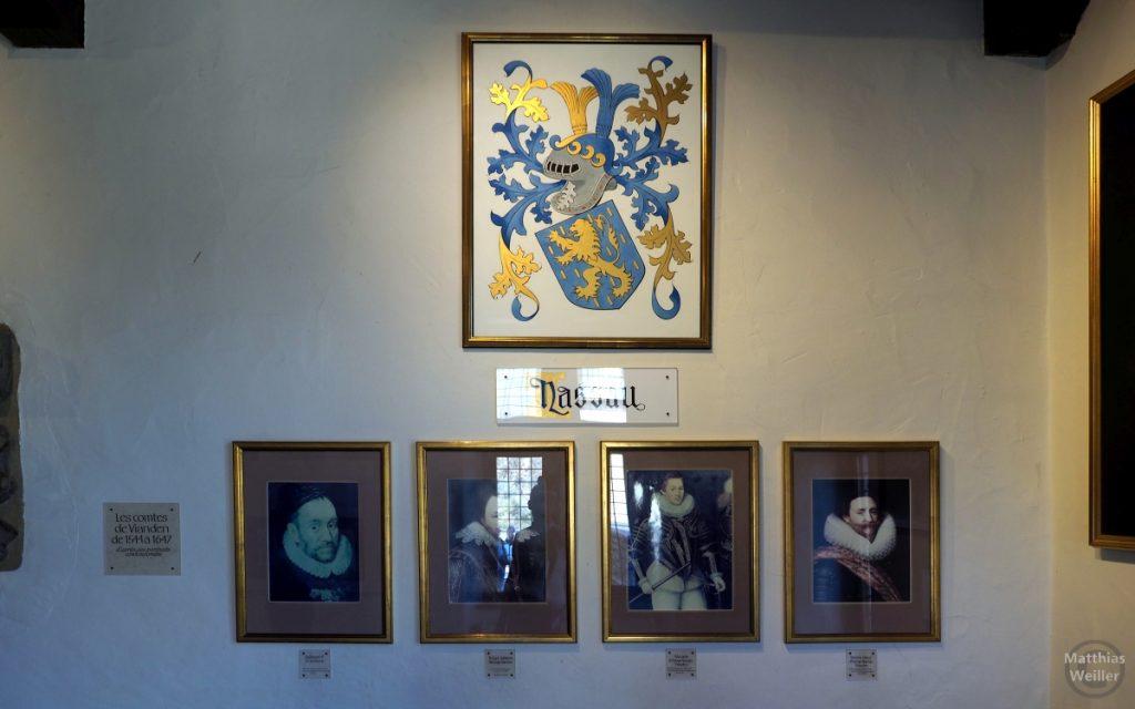 Ahnengalerie und Wappen Grafschaft Nassau in der Brug Vianden