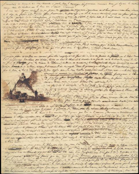 Brief Victor Hugo mit Rheinburgzeichnung