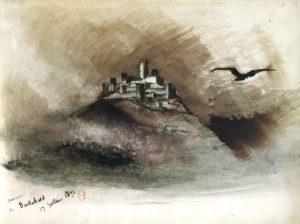 Bild Burg Burschied mit dunklem Vogel von Victor Hugo