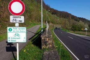 erhöhter Sauer-Radweg mit Schild oberhalb neben Straße, leichte Biegung