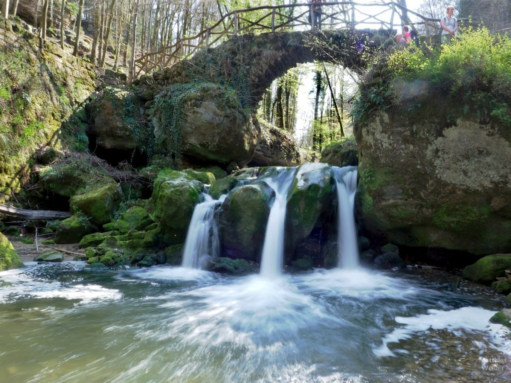 Müllerthal, Schiessentümpel, 3 Wasserfallstrahle, Fließoptik, mit Steinbogenbrückeund Besuchern, Frontansicht