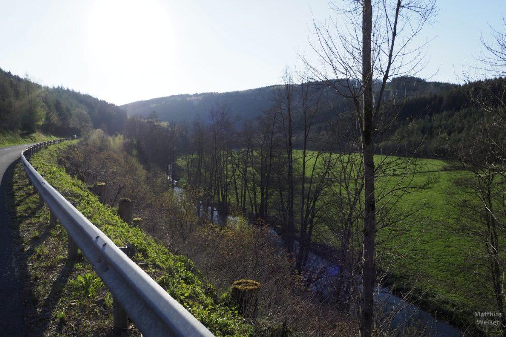 Blick von Straße mit Leitplanke auf Aue der Clerve