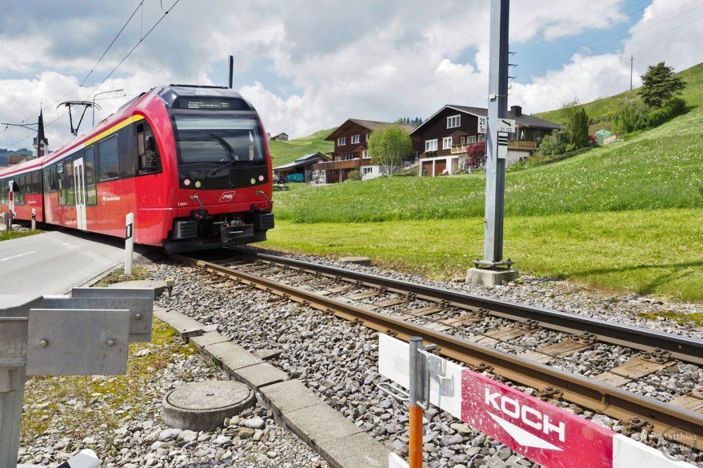 Schweizer Bähnli an Bahnübergang mit typischen Landhäusern und grünem Berghang