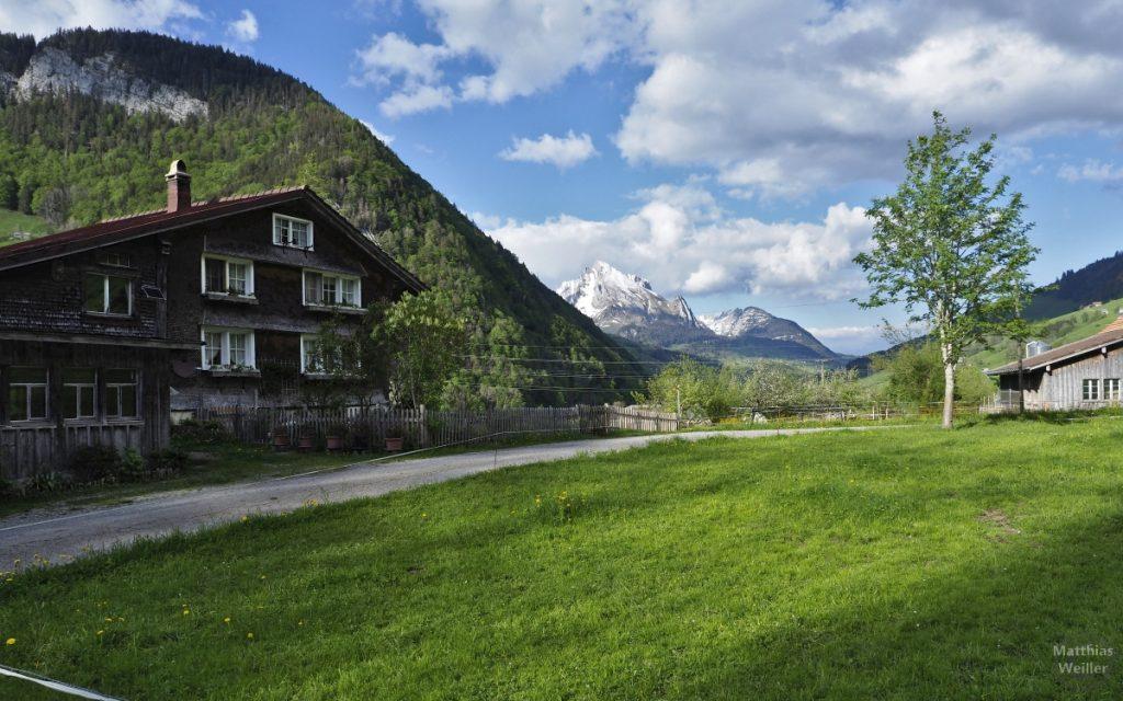 Berghaus mit Säntismassiv im Hintergrund in Starkenbach