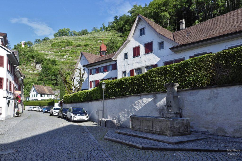 Brunnen, Kapelle und Straßenflucht vor Weinberg in Weesen