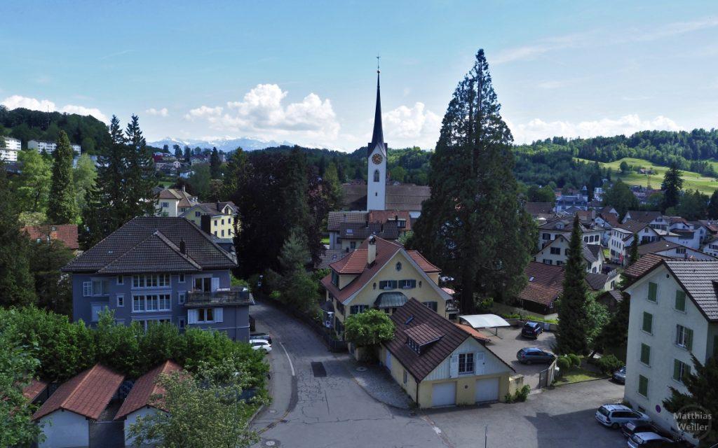 Ortsansicht auf Wald mit spitzem Kirchturm