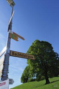 Schild Bachtelstraße mit Kastanienbaum