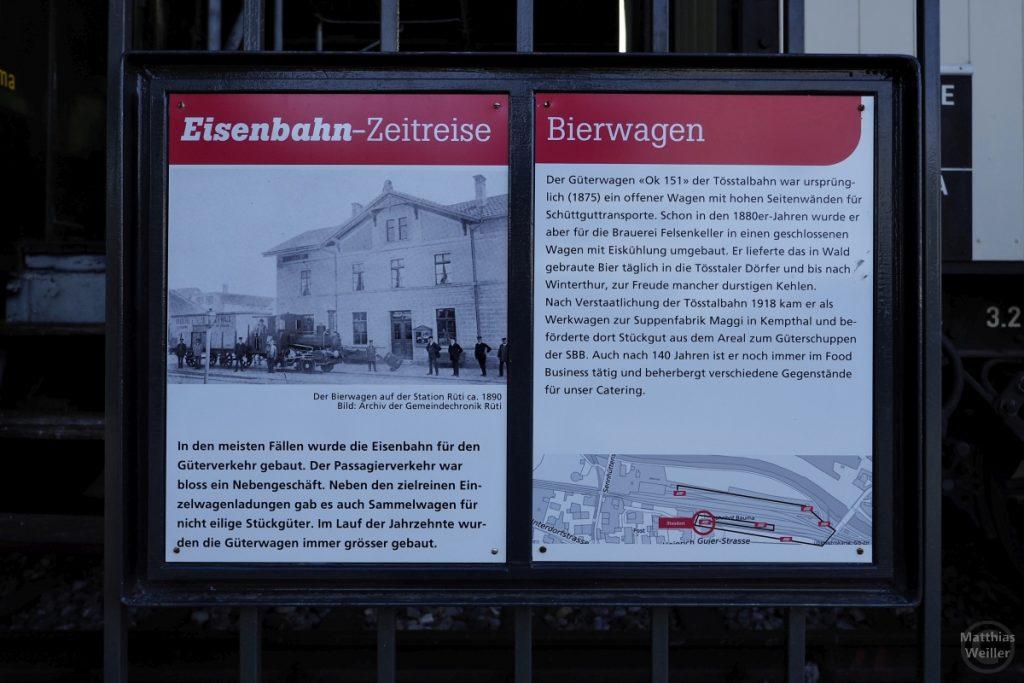 Infotafel Eisenbahn-Zeireise zum Bierwagen der Tösstalbahn, Bauma