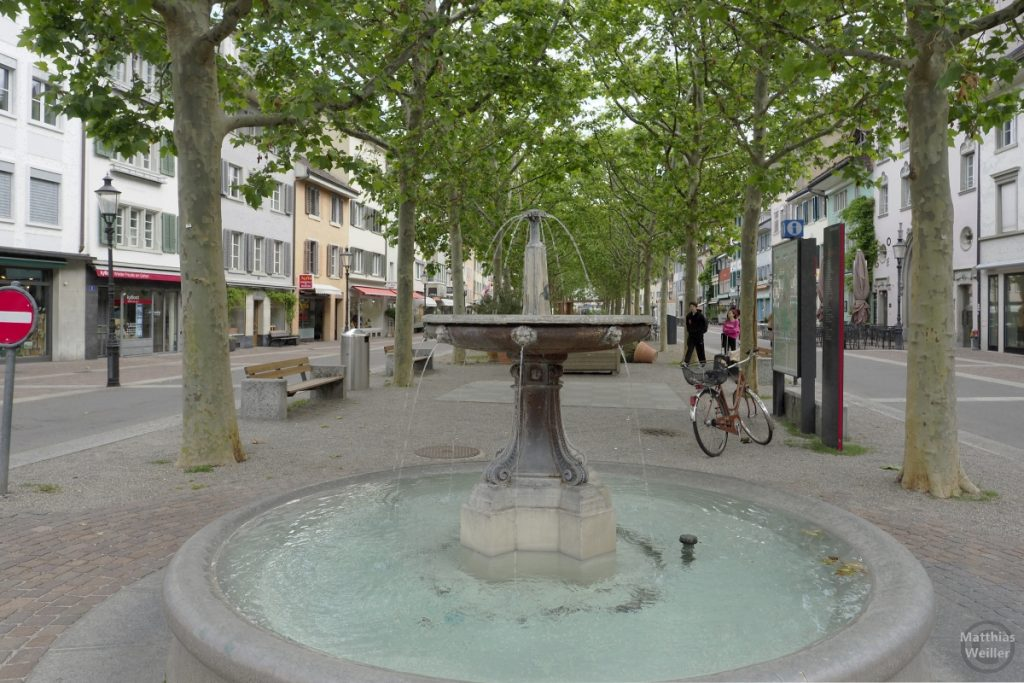 Brunnenszene in Allee in Winterthur