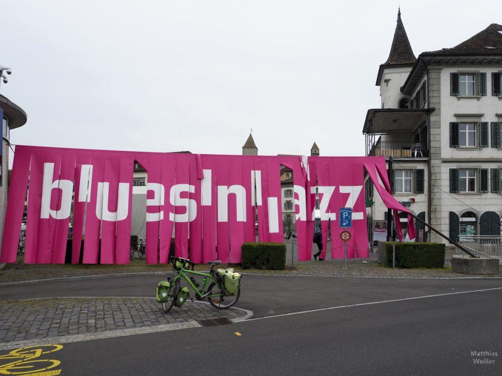 """Pinkfarbener Fransenvorhang """"blues'n'jazz"""""""", Rapperswil"""