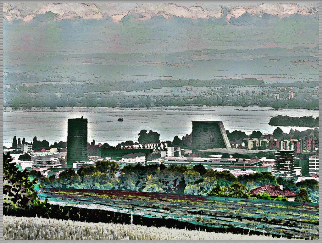 Modern stillisiertes Bild von Zug mit Zuger See