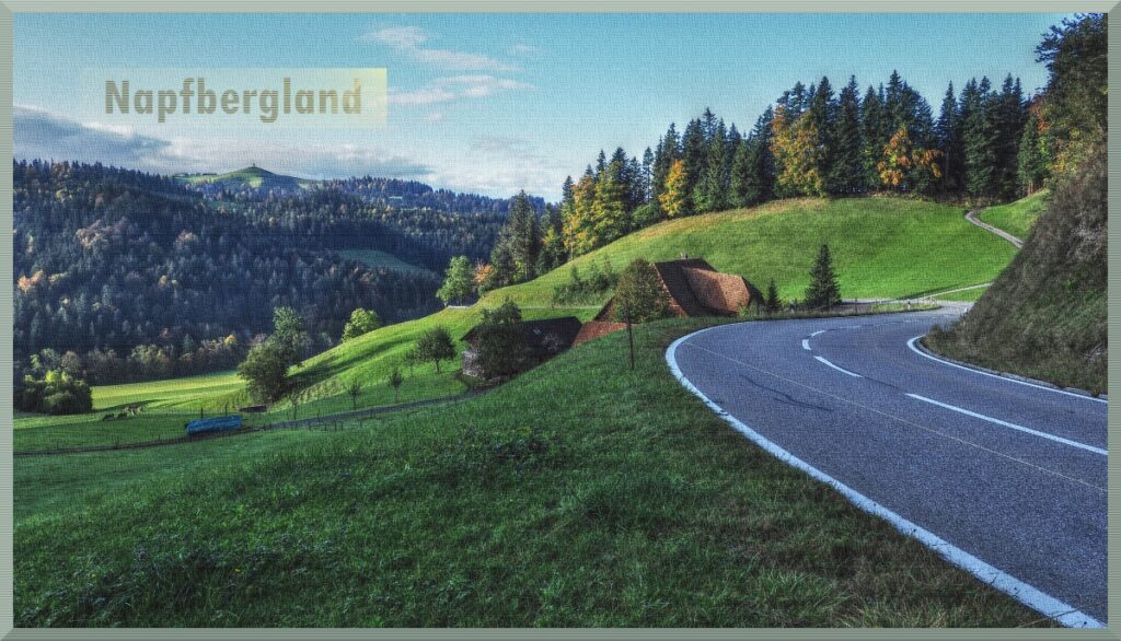 Napfebergland mit Straßenkurve, Bauernhaus, welliger Horizont