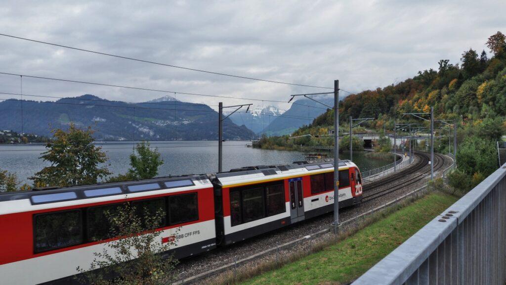 Zug mit Bahnstrecke vor See mit Fernblick Berge