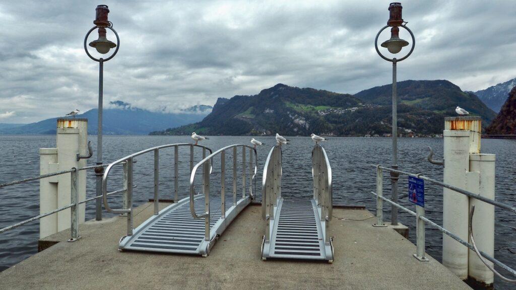 Anlegesteg mit zwei Schiebern und vier Möwen, See und Bergufer dahinter
