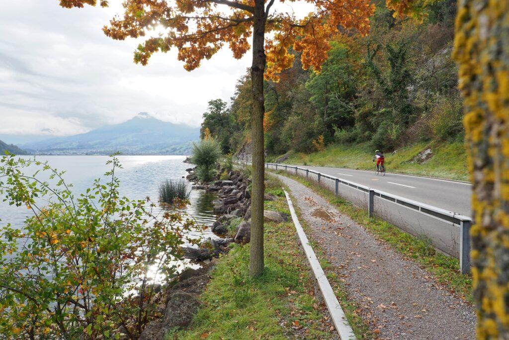 Alpnacher See mit Uferstraße und Rennradler