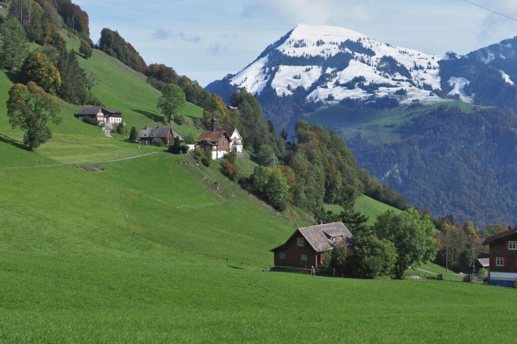Steile grüne Hänge mit Berghäusern, Schneeberg im Hintergrund