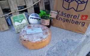 Einkauf Klosterladen Engelberg, Mangotörtli, Engelberg Cheddar, Glücksbrie, Tannenhonig