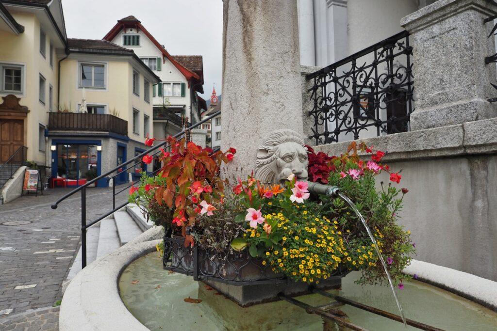 Brunnen mit Blumenschmuck, Schwyz