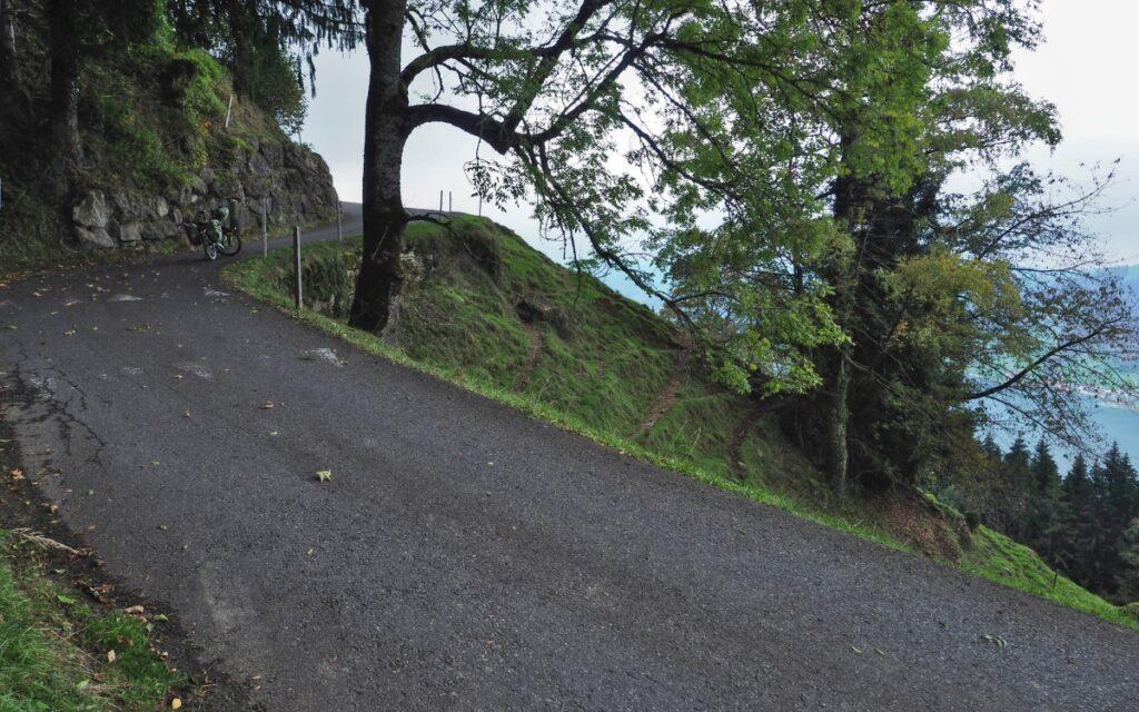 Straße über Ägerisee, mit Reisevelo