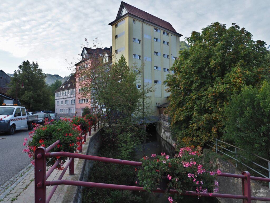 Hohe Häusergruppe über Dorfkanal mit Blumengeländer