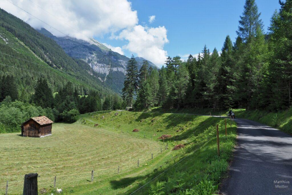 Straßenkurve mit grüner Bergwiese und Hütte, Motorrad