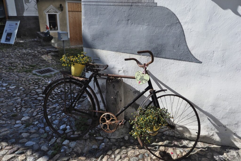 Verrotstes Rad mit Blumen und Willkommens-Schild
