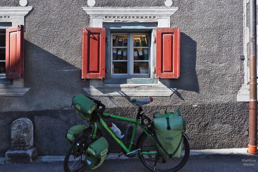 Grünes Resievelo vor Fenster mit rostroten Läden