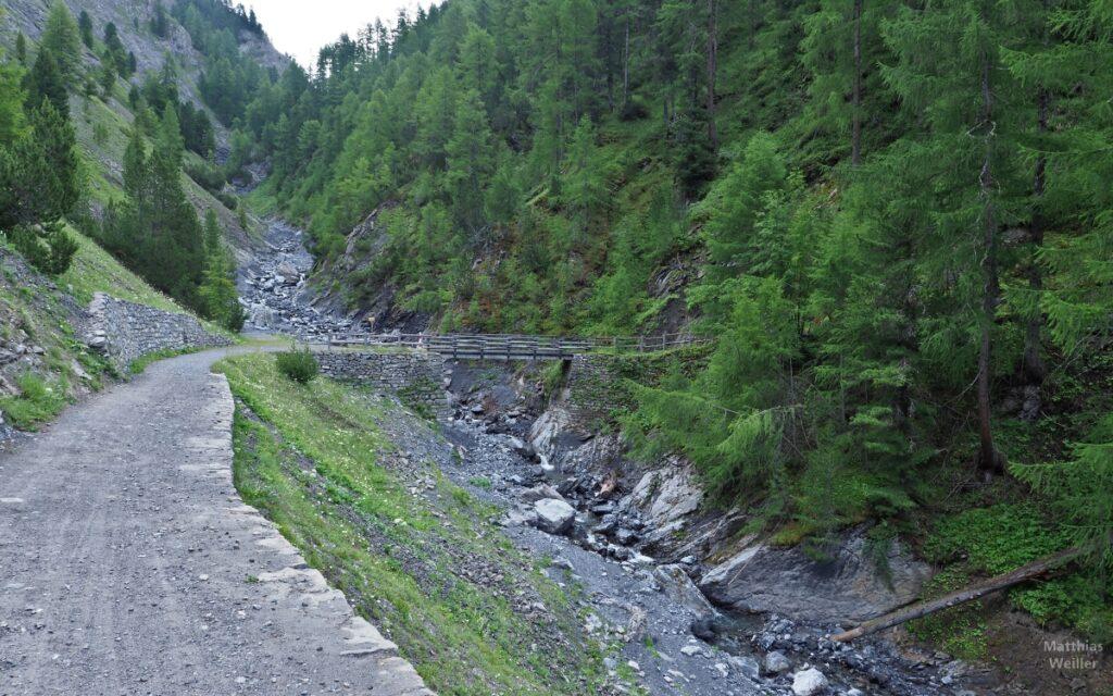 Piste mit Brücke über Bergbach