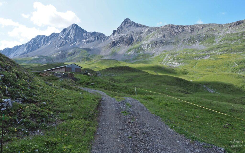 Bergkulisse mit Almhof am Passo di Valle Alpisella