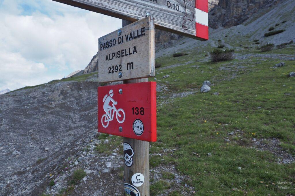 Passschild Passo di Valle Alpisella