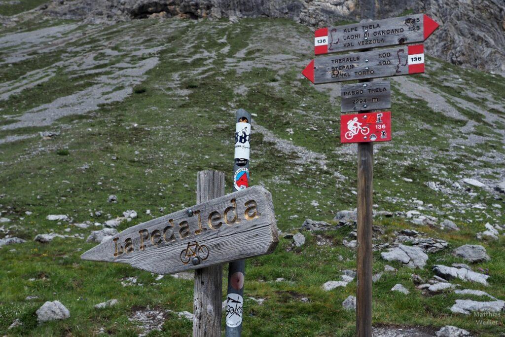 Holzpassschild Passo Trela
